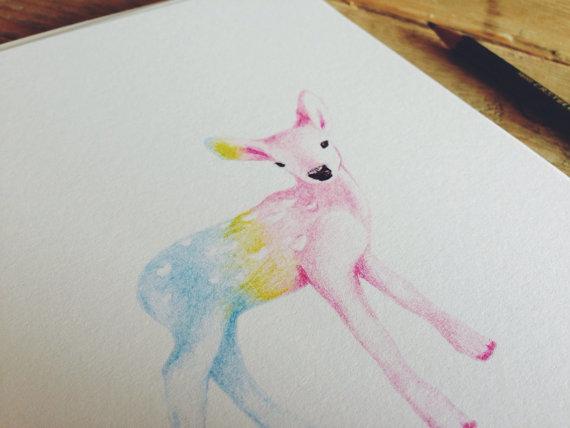 Rainbow deer print