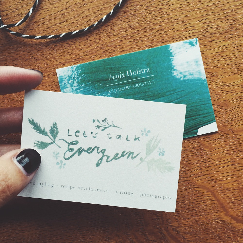 Logo and business card design for 'Let's talk Evergreen'