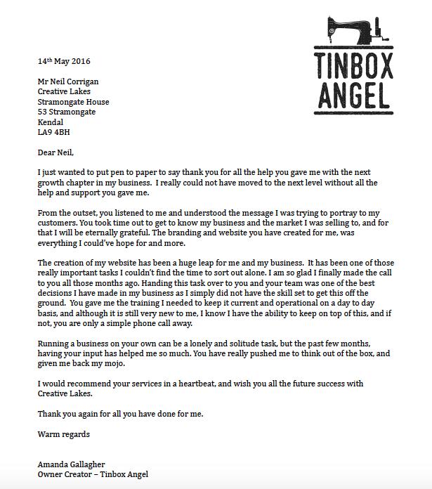 Tinbox Angel Testimonial Letter
