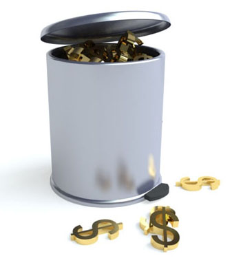 Image of garbage can filled with gold dollar signs, symbolizing wasted value of precious metals in used sputtering targets that aren't recycled by Specialty Metals.