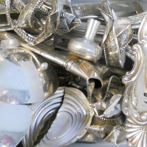 Photo of shipment of silver-plated scrap sent to Specialty Metals by a customer to be refined and recycled for the best prices on silver.