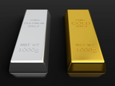 Photo of platinum and gold bars, precious metals that Specialty Metals refines and recycles from scrap catalytic converters and sputtering targets and more.