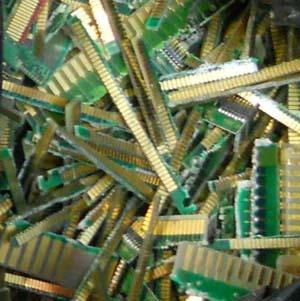 Gold-plated fingers, shown above, are just one type of electronic scrap that Specialty Metals recycles, along with contacts, pins and meltables, ceramics and CPU chips.