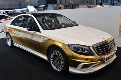 Photo of a gold-plated Carlsson CS50 Versailles Mercedes-Benz S Class sedan at the Geneva Motor Show in Switzerland, credit Drew-Phillips, which Specialty Metals would love to recycle!