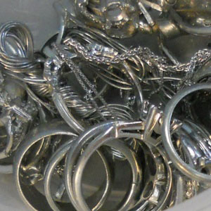 Shown: Jewelry and jewelry scrap containing platinum and other platinum group metals that Specialty Metals recycles and refines.