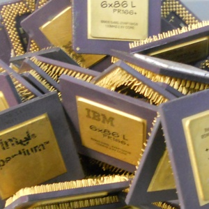 Photo of scrap electronic ceramics CPU chips sent to Specialty Metals to be refined and recycled for their gold, platinum, silver and palladium.