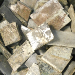 Photo of silver cadmium scrap that customers have shipped to Specialty Metals for environmentally responsible recycling and refining.