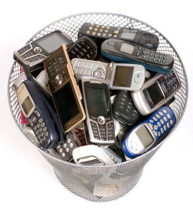 Photo of old smartphones that contain gold, silver and palladium that can be recycled profitably in large quantities by Specialty Metals.