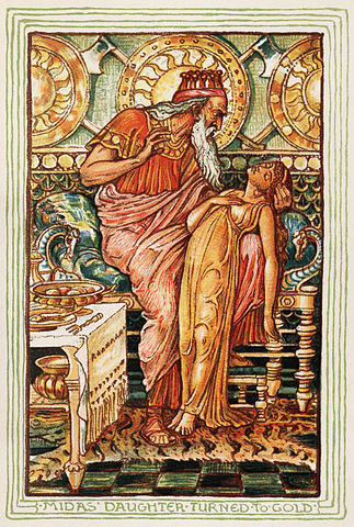"""King Midas with his daughter"" from ""A Wonder Book for Boys and Girls"" by Nathaniel Hawthorne, illustrated by Walter Crane."