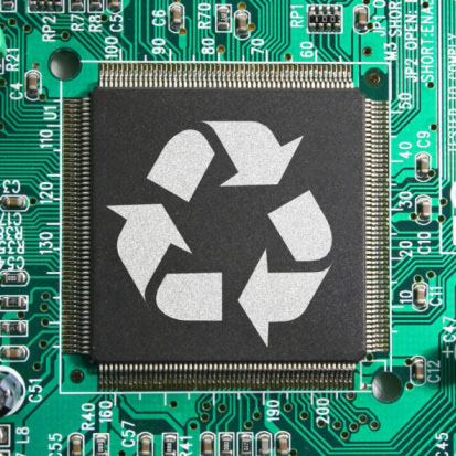 Image of circuit board and recycling symbol representing the value of recycling electronic scrap with Specialty Metals Smelters & Refiners.