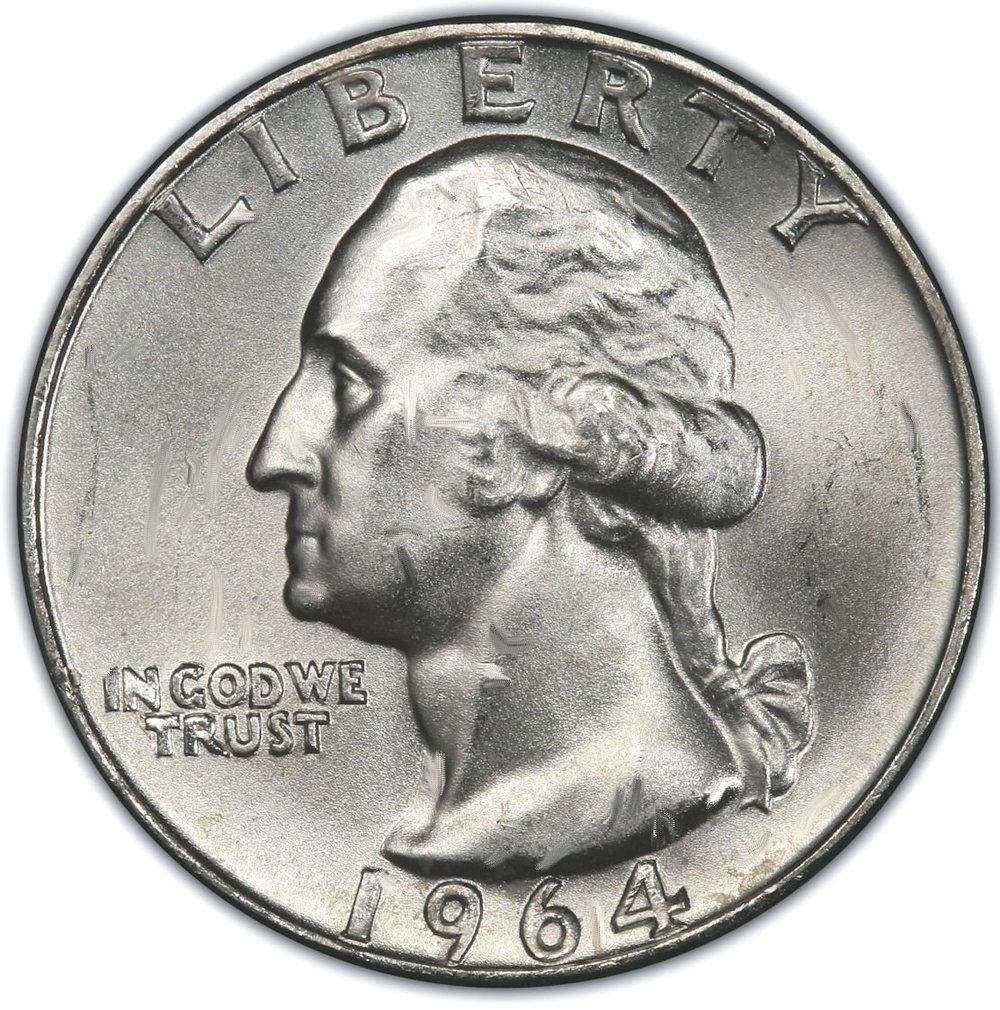 Shown: A 1964 quarter containing at least $3 worth of silver if recycled by a qualified silver refinery like Specialty Metals.
