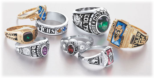 An assortment of Class Rings, courtesy of Jostens.