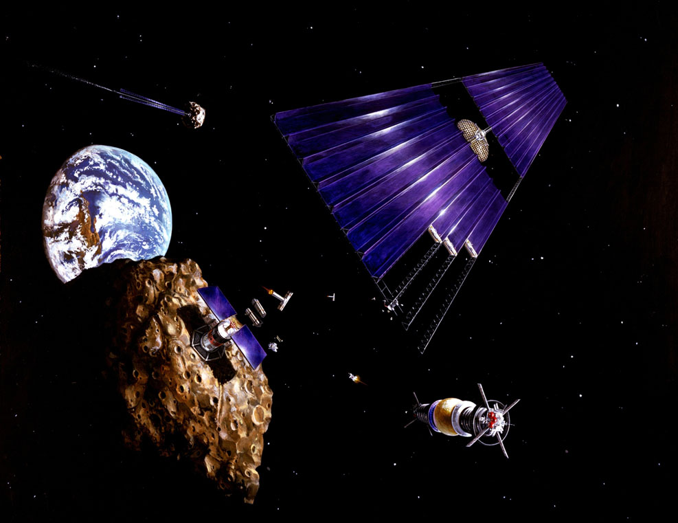 Artist's Depiction of Near-Earth Asteroid Mining operation. CREDIT: STOCKTREK IMAGES.