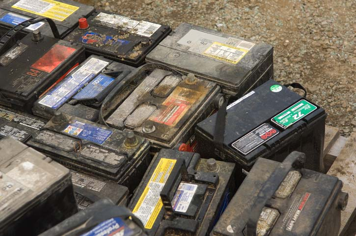 Photo of used car batteries you can recycle profitably. Credit: Jupiterimages/PHOTOS(dot)com