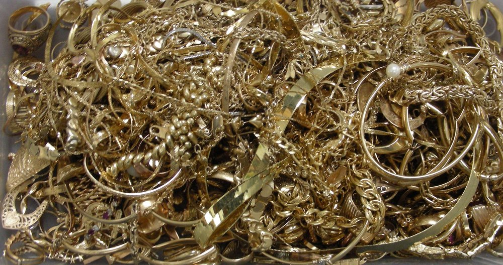 Shown: Jewelry and jewelry scrap containing platinum, silver and other platinum group metals like palladium and rhodium that our customers have sent in for recycling and refining.