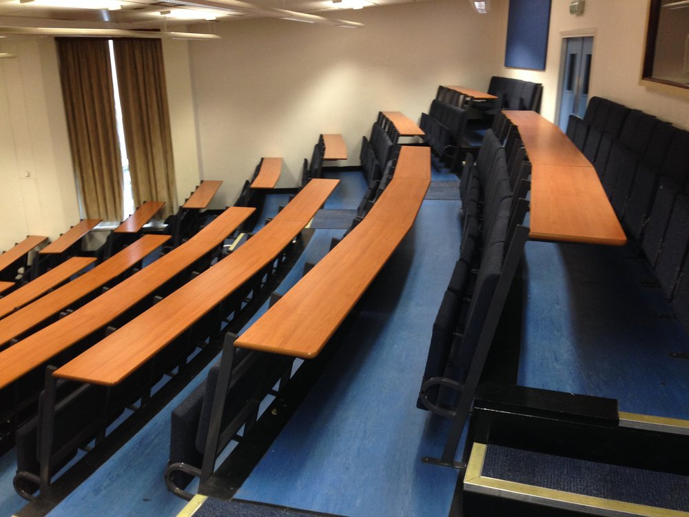 A side view of Lecture Theatre B before the redesign and refurbishment works began.