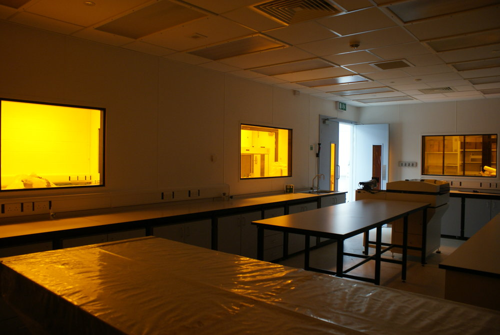 Looking towards the Lenses Laboratory with the windows protected with UV Window Film.