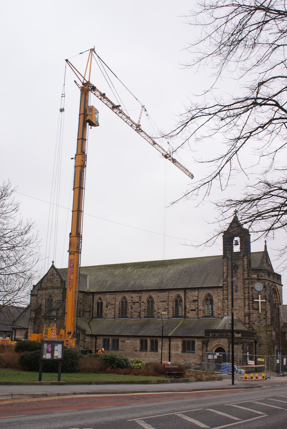 The steelwork had to be craned over the existing church due to the site constraints.