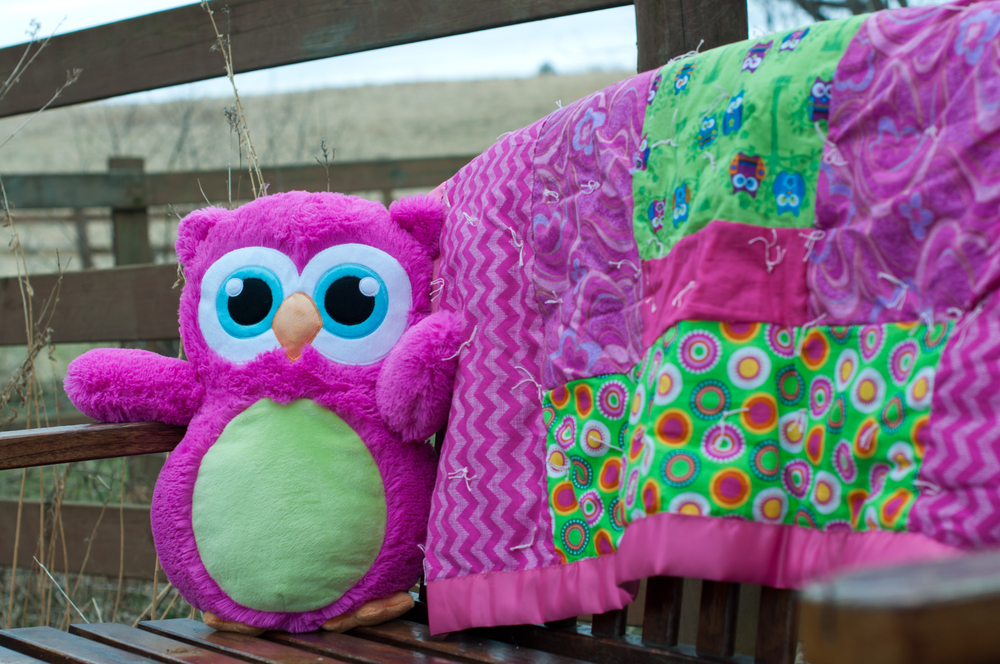 Awesome quilt made by grandma and a cute owl from auntie