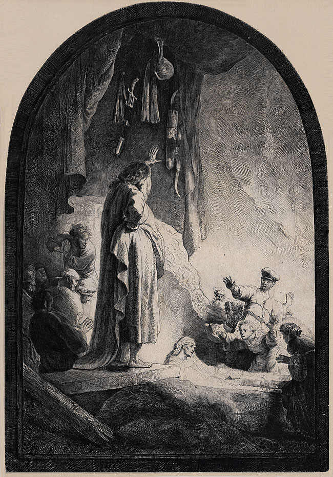 The Raising of Lazarus,Rembrandt. http://en.wikipedia.org/wiki/The_Raising_of_Lazarus_%28Rembrandt%29