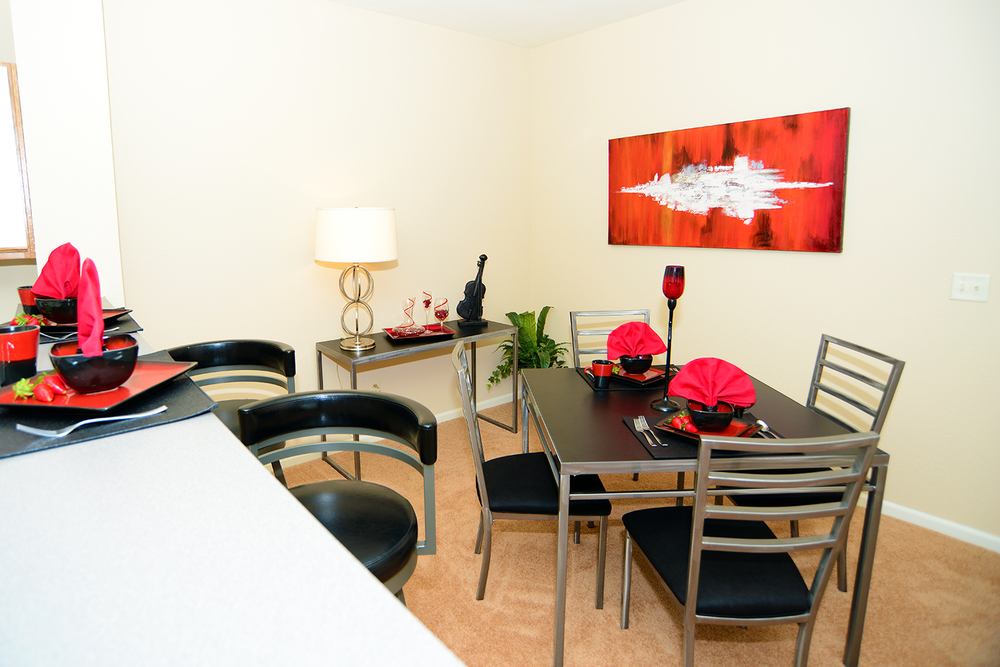 Two Bedroom Apartment Dining Area At Brookridge Heights Apartments In  Bloomington, IL.