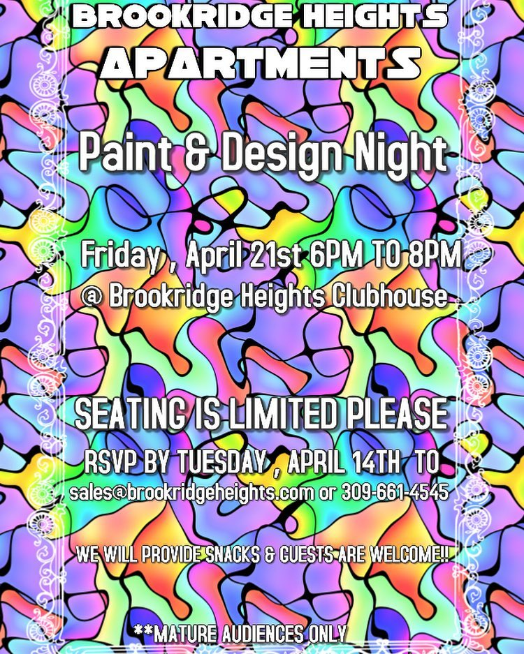Join us for paint design night april 21st 4 5 17 for Brookridge heights