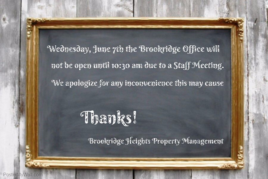 bha office will be closed wednesday june 7th due to a staff meeting  6  6  17  u2014 brookridge heights