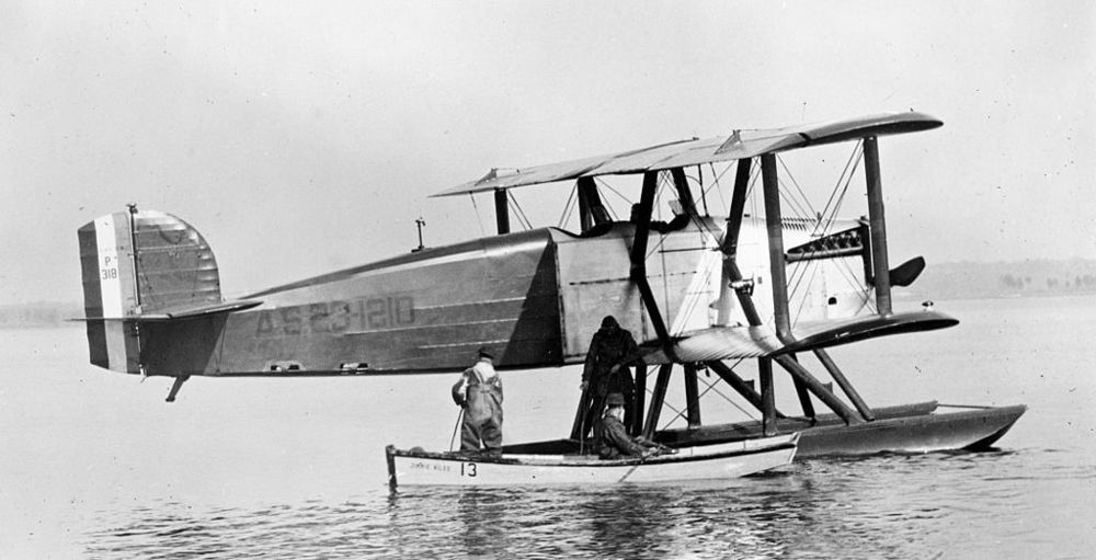 "The prototype Douglas World Cruiser seaplane (s/n 23-1210). It was substituted for DWC Boston (23-1231) late on in the round-the-world trip. ""P318"" on the tail is the Wright Field test number. (Library of Congress)"