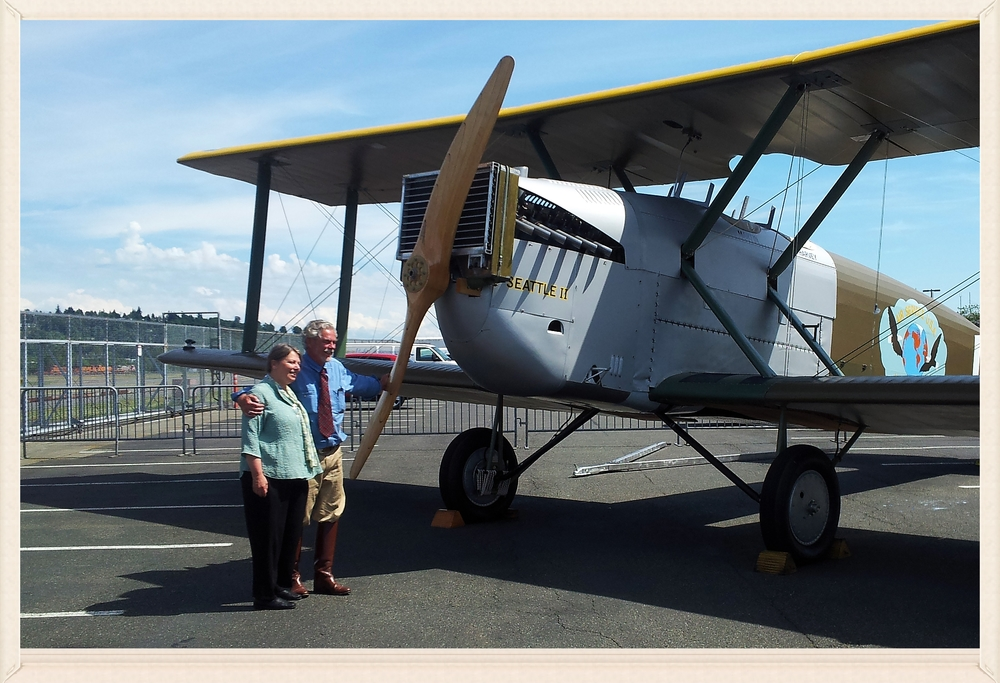 Diane and Bob at the rollout and christening of the Seattle 2 at Boeing Field.