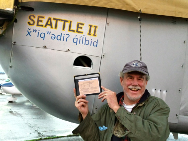 Bob with our Special Airworthiness Certificate.