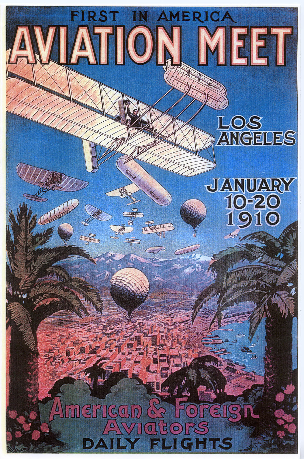 Promotional poster for the 1910 Air Meet.  (Image Courtesy of California State University, Dominguez Hills Archives)