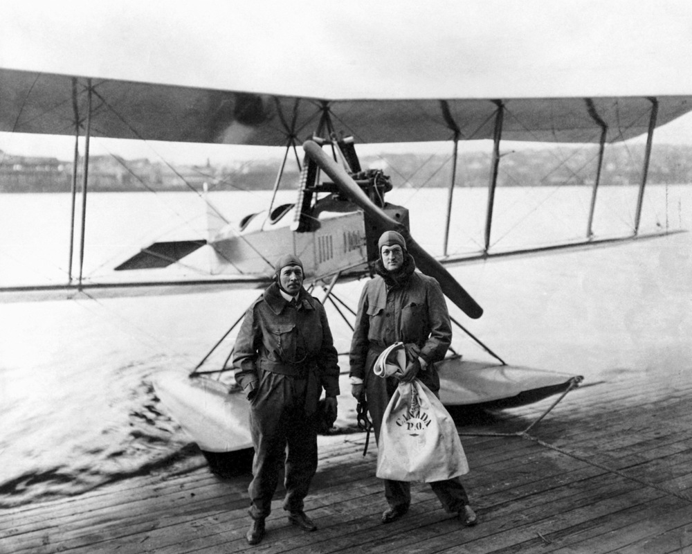 Eddie Hubbard and William Boeing with the Boeing Model C following completion of the first international airmail flight, March 3, 1919 . (Boeing Archives)