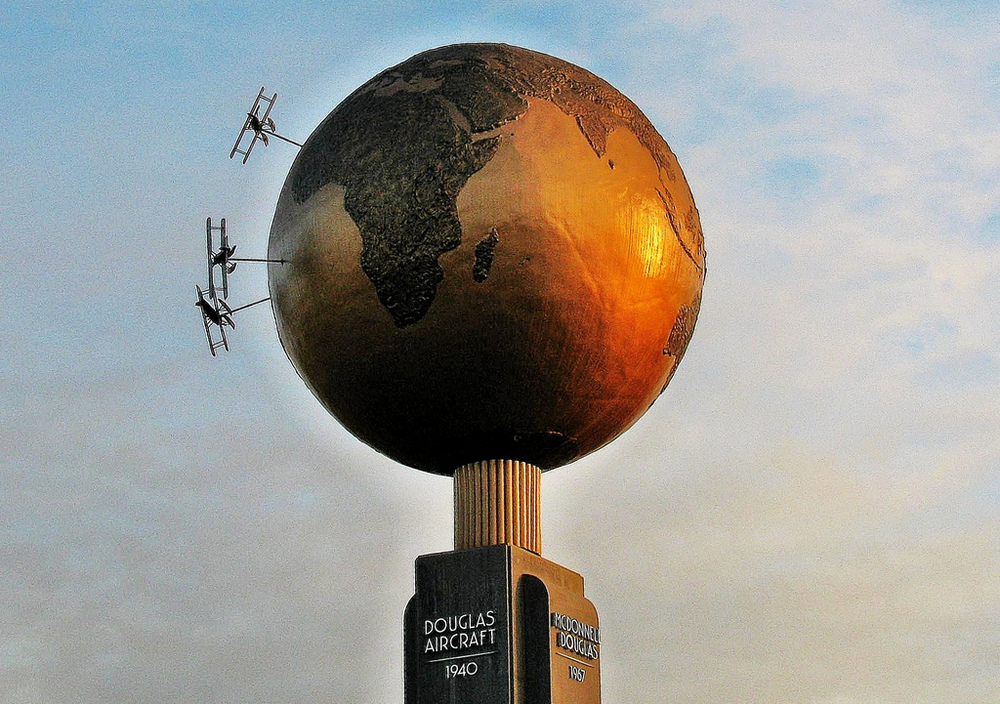 A globe commemorating the World Flight still stands at the Douglas Park, in Long Beach, CA.  (Dempster Archive)