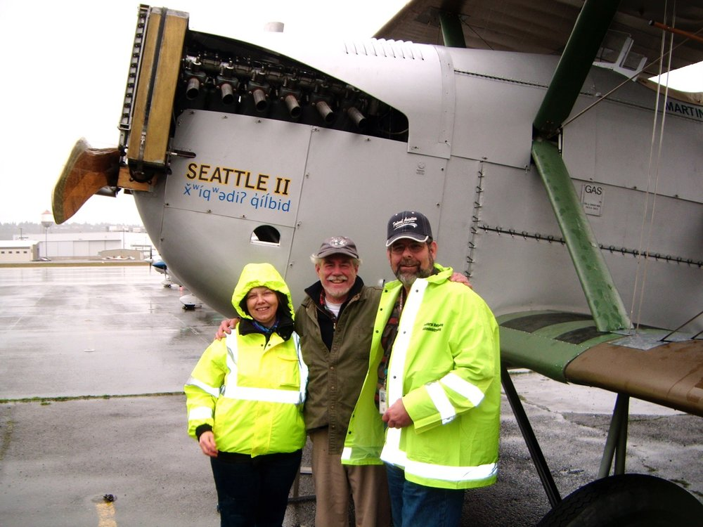 Guy Shinkaruk, Bob & Diane, with the Seattle II's FAA Certificate.