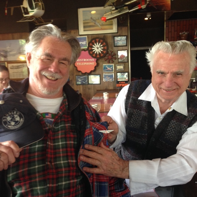 Our good friend Richard at Randy's Restaurant presents Bob with Congratulatory Wings.