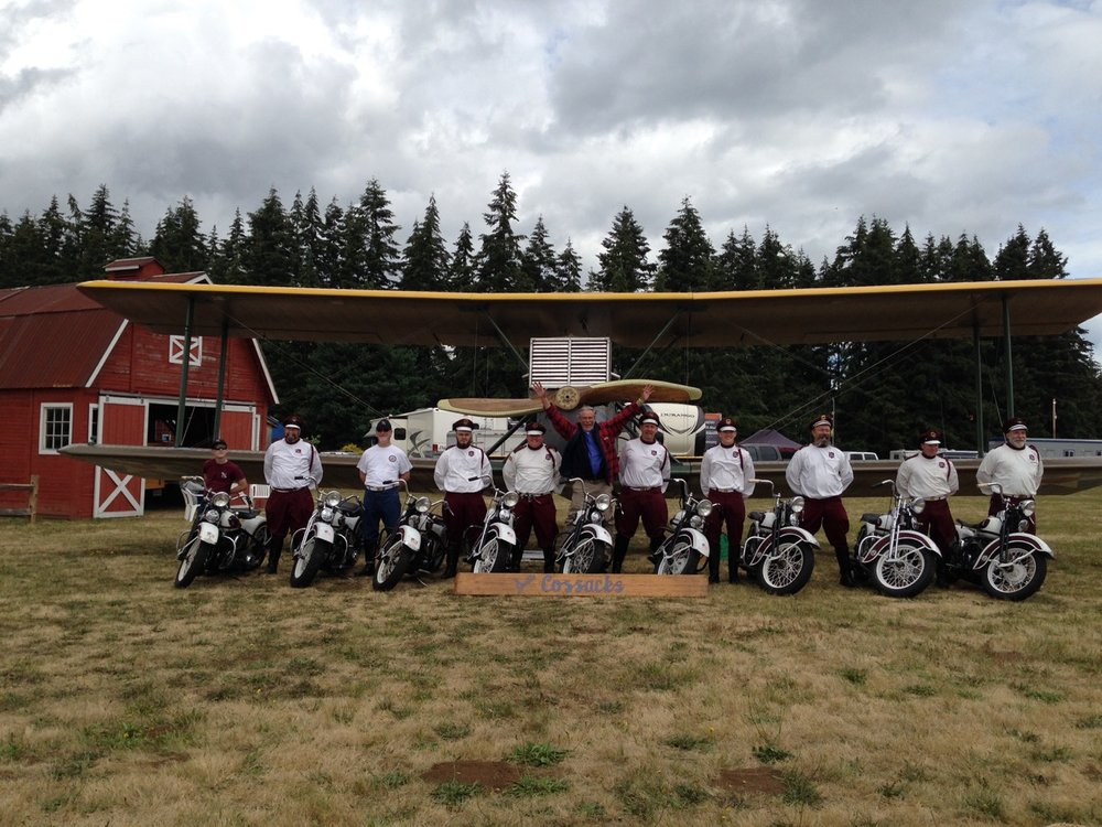 The  Seattle Cossacks Motorcycle Stunt & Drill Team  visits Bob and the World Cruiser.