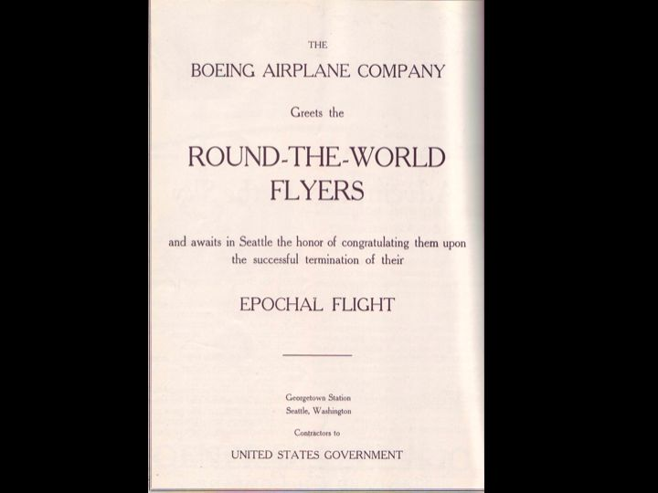 A 1924 Boeing advertisement, wishing the World Flight all the best.