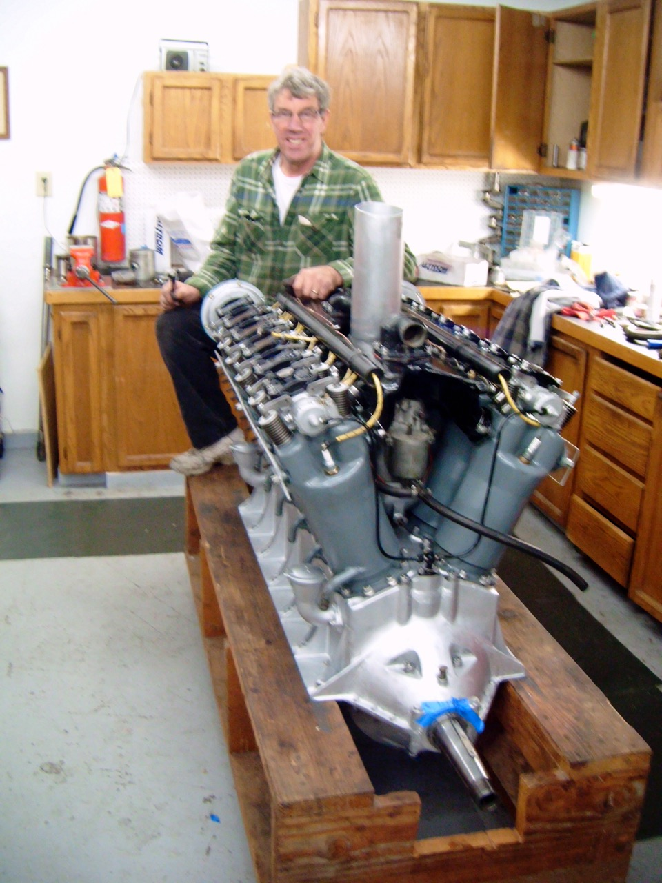 Peter with his Liberty V-12 flight test engine.