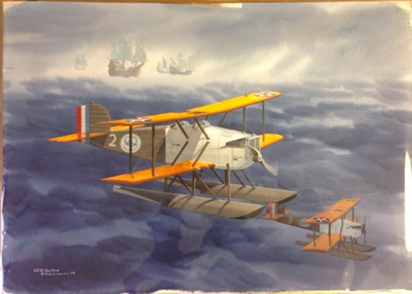 Frank Loudin's beautiful painting of the Douglas World Cruisers with Magellan's fleet in the background.