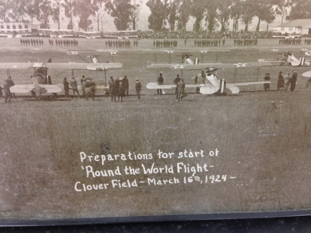 Fred Hazleton donated this historical photo of the start of the 1924 flight from Clover Field California. The four Cruisers can be seen lined up in the background.