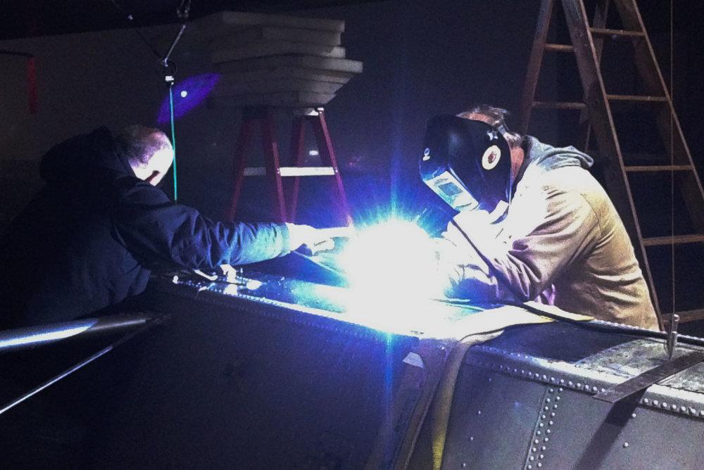 Gary & Mitch, preliminary strut welding.