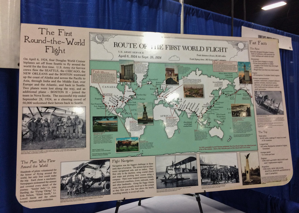 Display of the route and scenes of the 1924 flight.