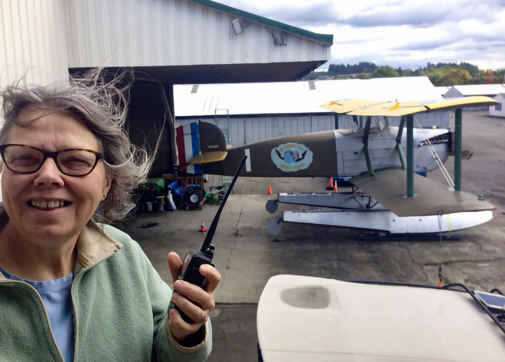 On October 2nd, Diane KI7USH made her first contact from Seattle World Cruiser World HQ to Mike KA7CSEDiane recently was awarded her EXTRA class amateur radio license, which she will use on the Around-The-World flight.