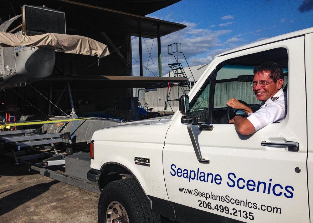 Bob Rhinehart, driving Seaplane Scenics float truck.