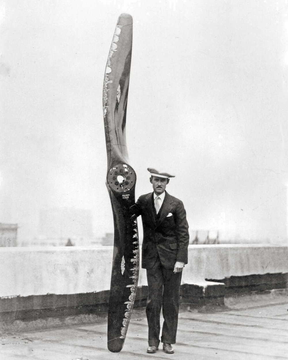 The World Cruisers used two types of propellers: oak with the pontoons, because it is very sturdy and resistant to sea spray; and walnut with the wheels, because it is lighter and better propeller wood. They were made by the Hamilton Aero Company.  (Museum of Flight)