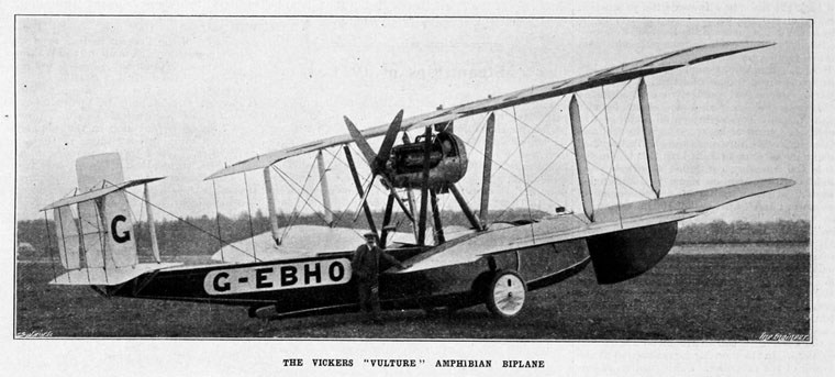 The Vickers 78 Vulture amphibious aircraft being flown by the British team. The Vulture was based on the Vickers Viking that was designed for military use in late 1918.
