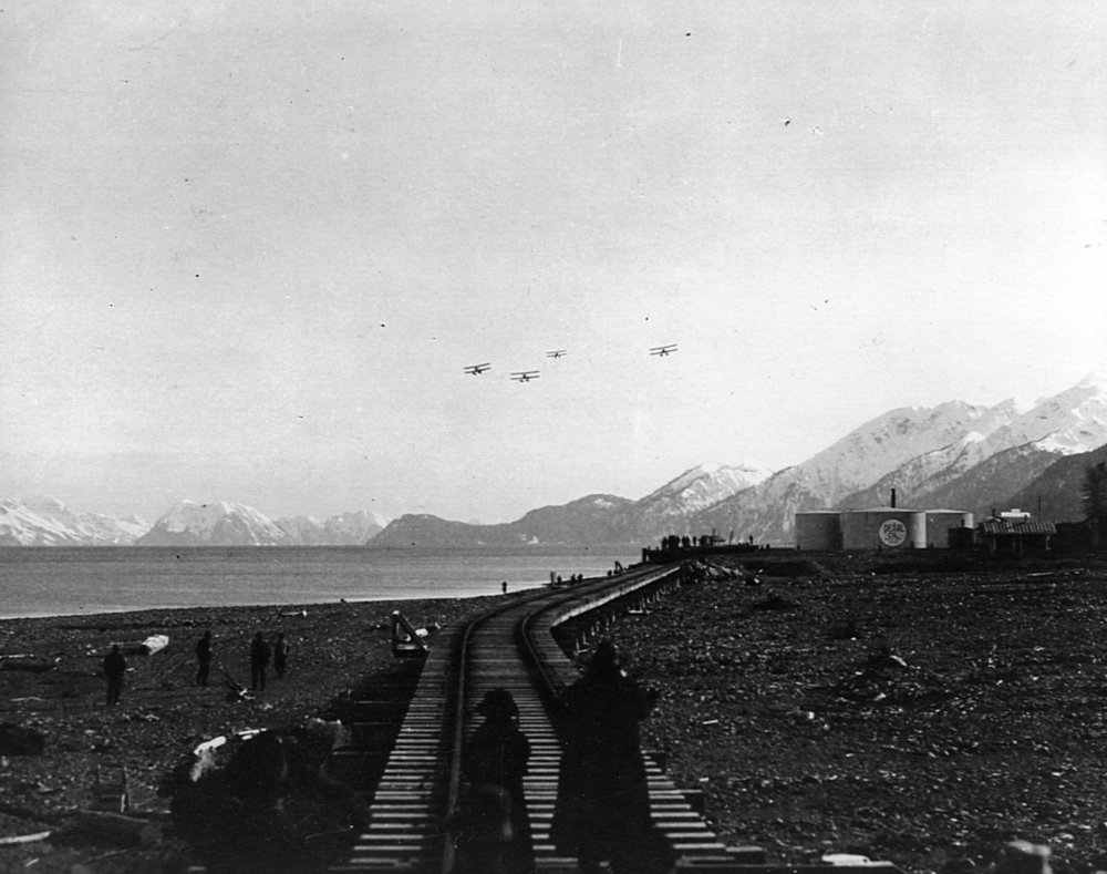 The four World Cruisers approaching Seward.    (National Archive  342-FH-3B-7996-11561AS )