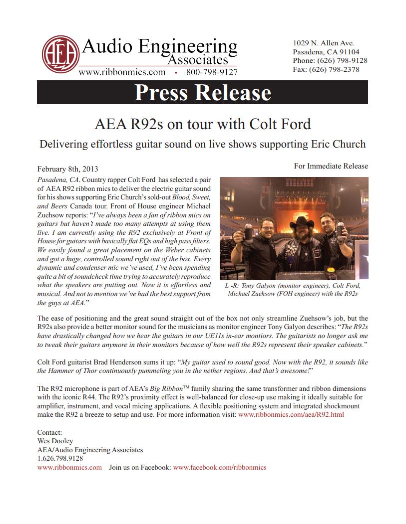 AEA Press Release