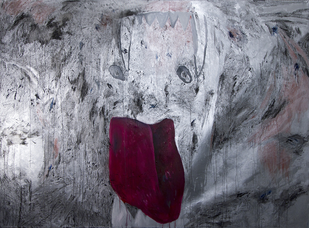 "Hussy spray paint, oil, charcoal, enamel, china marker 49"" x 67""/125 cm x 170 cm  2012"