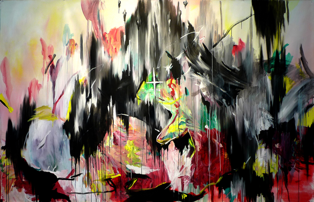 Rabbit Punch oil, acrylic 67″ x 104″/170 cm x 264 cm 2011